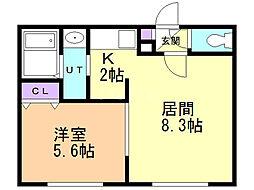 リージェントN札幌 4階1LDKの間取り