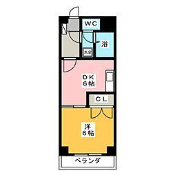 ベイコート横浜 3階1DKの間取り