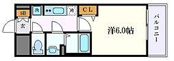 プレサンスSAKAEフロント 5階1Kの間取り