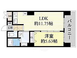 Osaka Metro御堂筋線 新大阪駅 徒歩9分の賃貸マンション 15階1LDKの間取り