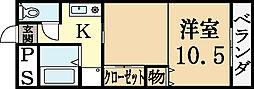 藤井マンション 3階1Kの間取り