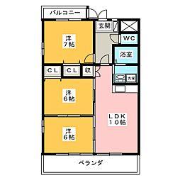 リバーズマンション築捨[2階]の間取り