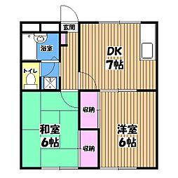 東京都小平市中島町の賃貸アパートの間取り