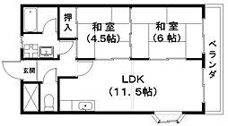 浅田センチュリーマンションII[2階]の間取り