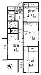 大倉山ビューハイツ[201号室]の間取り