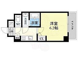 S-RESIDENCE江坂Crescent 2階1Kの間取り