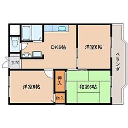 奈良県生駒市壱分町の賃貸マンションの間取り