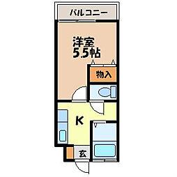 リーガル栄田 1階1Kの間取り