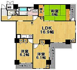 酉島リバーサイドヒルなぎさ街20号棟[9階]の間取り