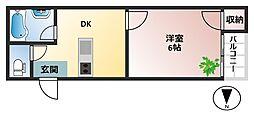 大阪府大阪市平野区流町4丁目の賃貸マンションの間取り