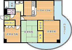 メゾン京良城[2階]の間取り