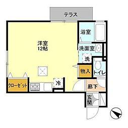 小田急江ノ島線 鵠沼海岸駅 徒歩3分の賃貸アパート 1階ワンルームの間取り