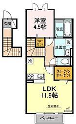岡山県岡山市北区三門中町の賃貸アパートの間取り
