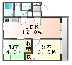 岡山県笠岡市入江の賃貸アパートの間取り