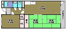 プレアール喜多[3階]の間取り