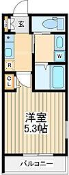 JR中央線 立川駅 徒歩20分の賃貸マンション 4階1Kの間取り