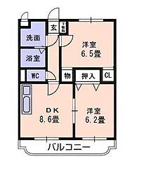 伊予鉄道郡中線 余戸駅 徒歩13分の賃貸マンション 3階2DKの間取り
