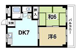 奈良県奈良市西大寺北町3丁目の賃貸マンションの間取り