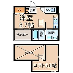 愛知県名古屋市中川区花塚町1丁目の賃貸アパートの間取り