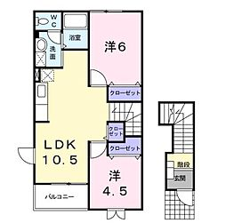 カ−サ・レフィナ−ド[2階]の間取り
