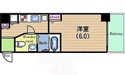 Osaka Metro中央線 阿波座駅 徒歩3分の賃貸マンション 10階1Kの間取り