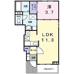 千葉県東金市南上宿の賃貸アパートの間取り