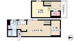 アコモ元中村 1階1LDKの間取り