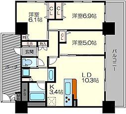 ラウロ相川リーヴァ 5階3LDKの間取り