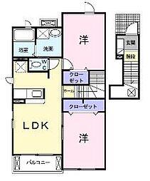 広島県福山市駅家町大字倉光の賃貸アパートの間取り