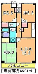 京成本線 志津駅 徒歩10分の賃貸マンション 1階3LDKの間取り
