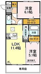 岡山県岡山市南区西市丁目なしの賃貸アパートの間取り