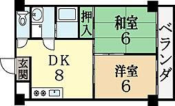 中マンション 2階2LDKの間取り