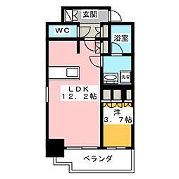 ブランシエスタ飯田橋 10階1LDKの間取り