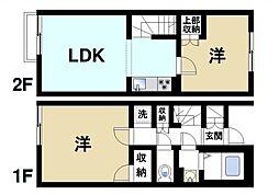 [テラスハウス] 奈良県天理市岩室町 の賃貸【/】の間取り
