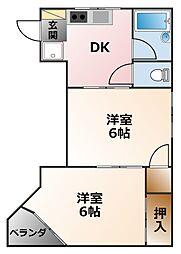 ELLE甲子園[3階]の間取り