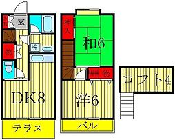 [テラスハウス] 千葉県鎌ケ谷市南初富4丁目 の賃貸【/】の間取り