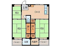 ビレッジハウス紀三井寺2号棟[3階]の間取り