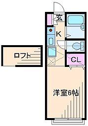 神奈川県横浜市港北区綱島西1丁目の賃貸アパートの間取り