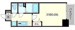 プレサンス梅田II 10階1Kの間取り