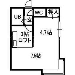 北海道札幌市豊平区水車町7丁目の賃貸アパートの間取り