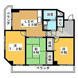 シャンポール・ミヤ[4階]の間取り