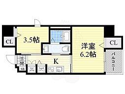 南海高野線 堺東駅 徒歩15分の賃貸マンション 6階1SKの間取り