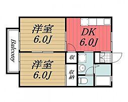 千葉県市原市国分寺台中央7丁目の賃貸アパートの間取り