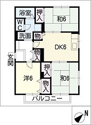 サンハイツ赤代ABC棟[2階]の間取り