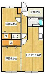 ユーミーA&K 3階2LDKの間取り