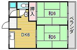 大阪府吹田市藤が丘町の賃貸アパートの間取り