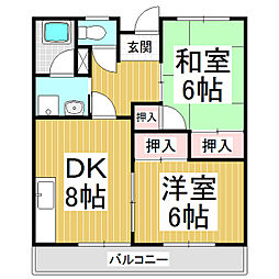 コーポコマツA・B[2階]の間取り