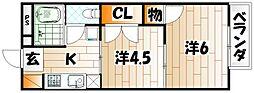 プレジール水神 B[2階]の間取り