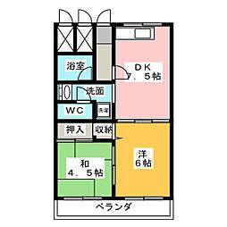 愛知県名古屋市名東区社台2の賃貸マンションの間取り