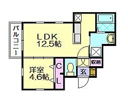 福岡県福岡市博多区空港前5丁目の賃貸アパートの間取り